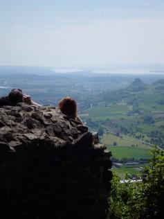 Blick vom Hohenhewen zum Bodensee und Hohenkrähen